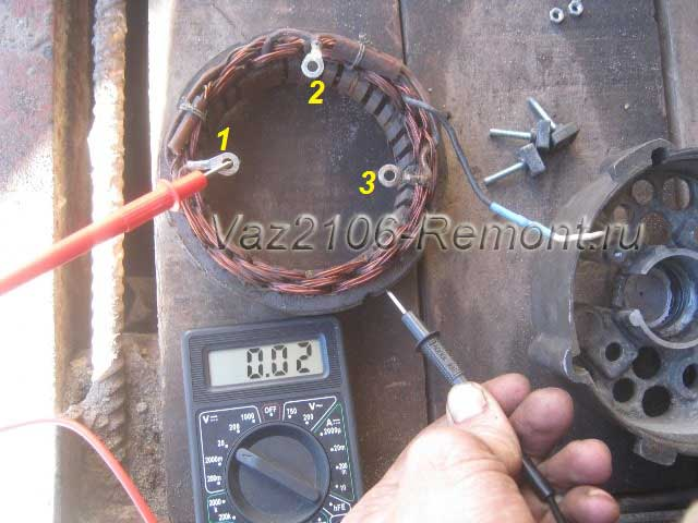 диагностика и проверка исправности обмотки статора на генераторе ВАЗ 2106