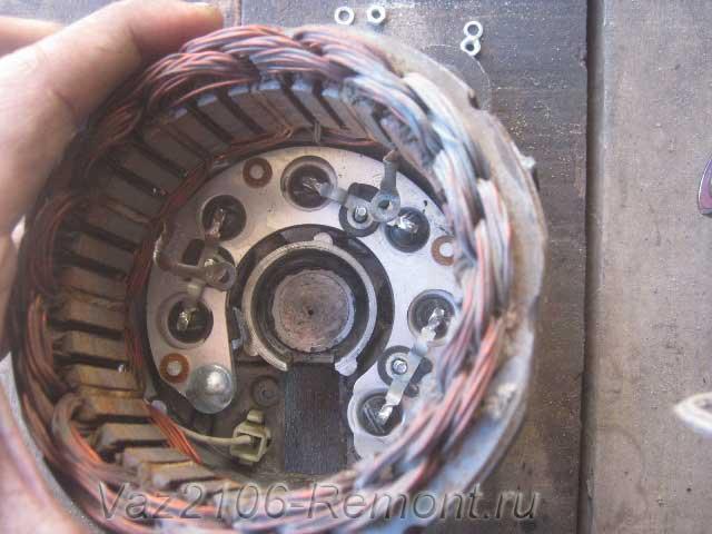 снятие обмотки статора на генераторе ВАЗ 2106