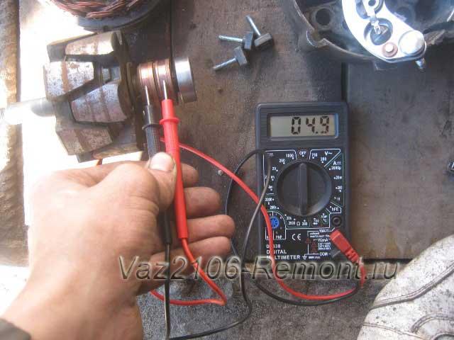 проверка ротора генератора на ВАЗ 2106