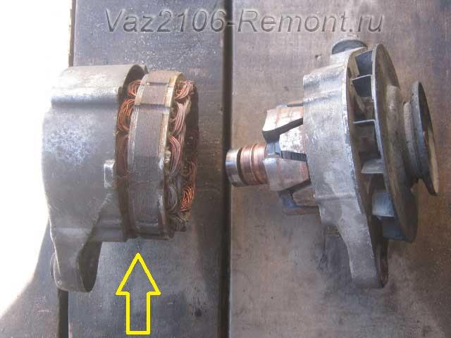 статор генератора ВАЗ 2106 с диодным мостом
