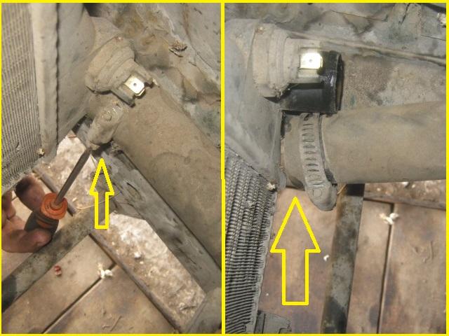 отсоединение шланга в самом низу радиатора на ВАЗ 2106