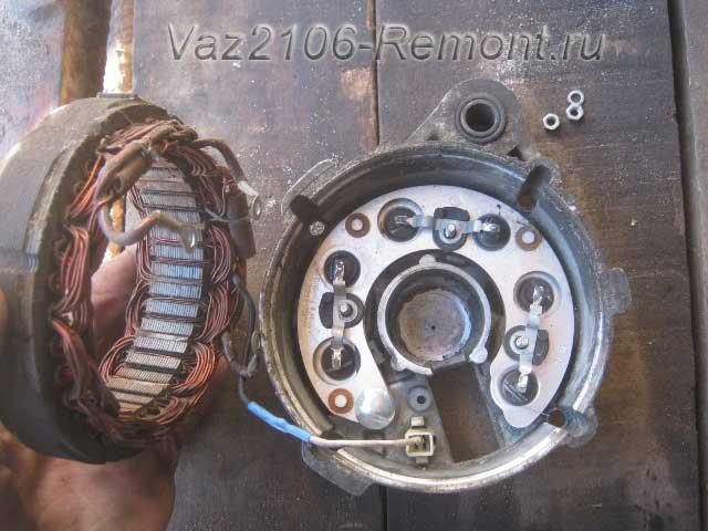 снятие обмотки генератора на ВАЗ 2106